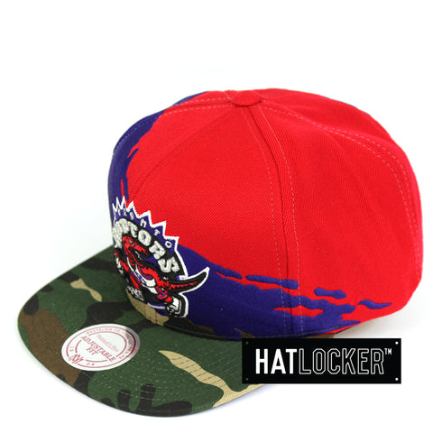 Mitchell & Ness Toronto Raptors Camo Paintbrush Purple Red Snapback Cap