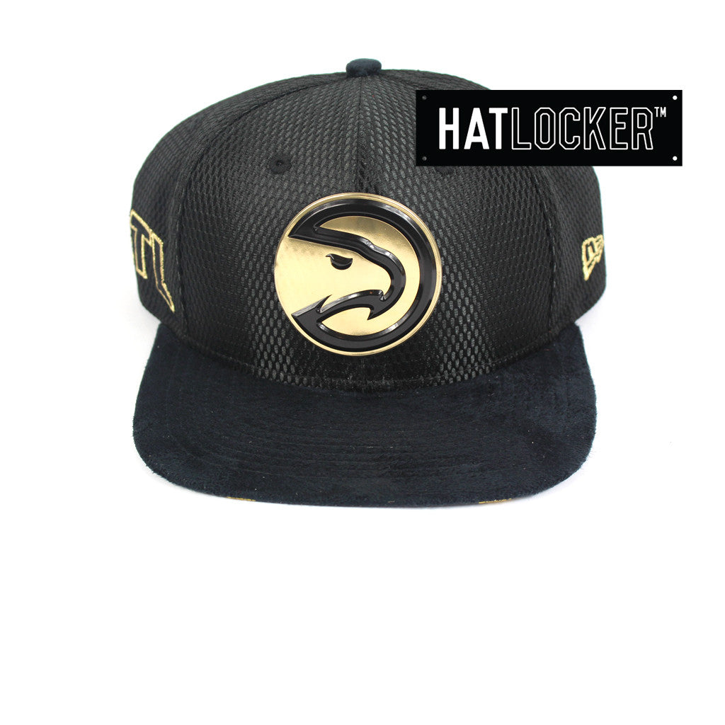 reputable site a4a39 cd7ba New Era   Official NBA Atlanta Hawks On-Court Black Gold Snapback Hat – Hat  Locker