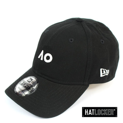 New Era Australian Open Black White Logo Curved Strapback