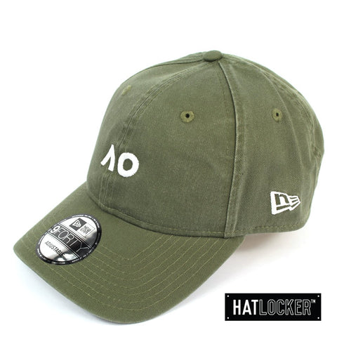 New Era Australian Open New Olive White Logo Curved Strapback