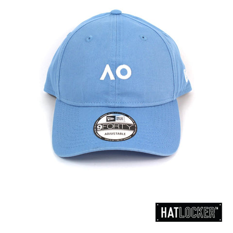New Era Australian Open Sky Blue White Logo Curved Strapback Hat