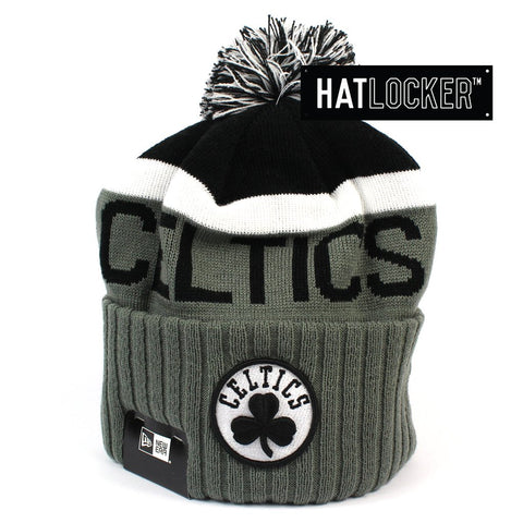 New Era Boston Celtics Black & Grey Pom Knit Beanie Australia