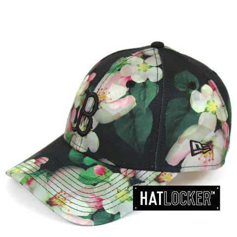 New Era Womens Boston Red Sox Black Floral Curved Brim Hat