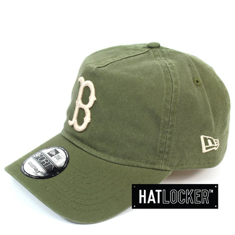 New Era Boston Red Sox Washed Olive Unstructured Snapback Cap