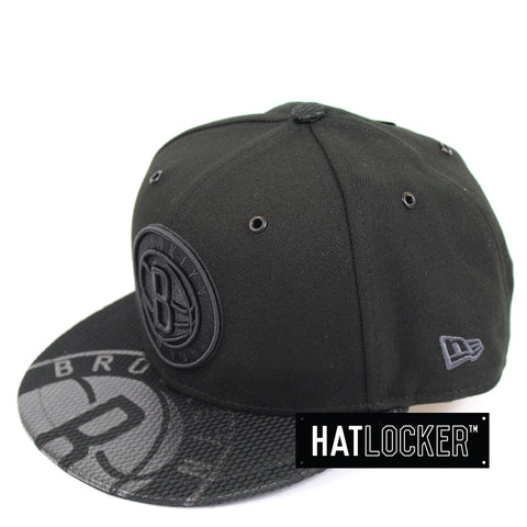New Era Brooklyn Nets On Court Black Collection Snapback Hat