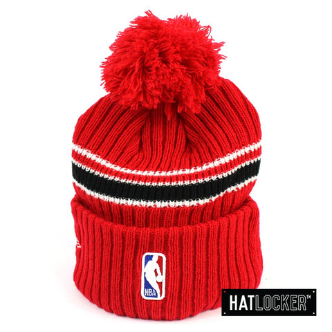 New Era Chicago Bulls BH Series Team Red Pom Knit Beanie