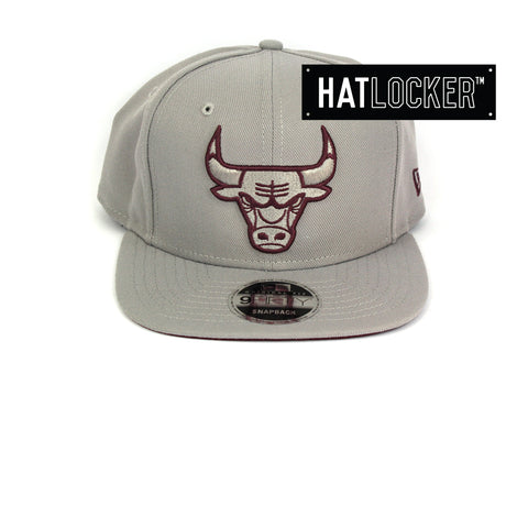 New Era Chicago Bulls Grey Maroon Snapback Hat