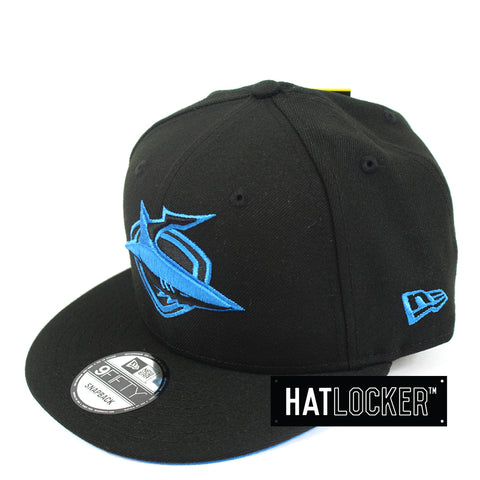 Hat Locker Australia New Era NRL Cronulla Sharks Black Pop Snapback Hat Side