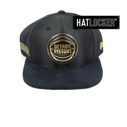 New Era - Detroit Pistons On-Court Black Gold Snapback