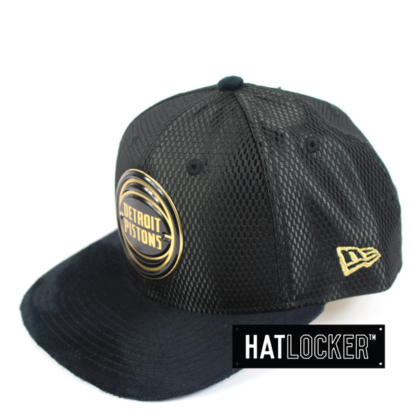 f53e10be245b7 ... coupon for new era official nba detroit pistons on court black gold snapback  hat locker be6a7