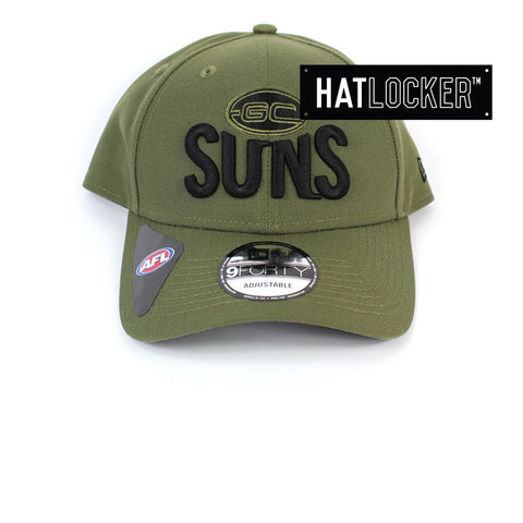 New Era Gold Coast Suns 2020 Shadow Tech Olive Curved Snapback Hat