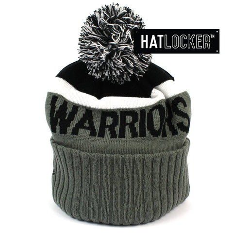New Era Golden State Warriors Black & Grey Pom Knit Beanie