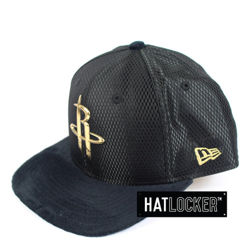 New Era - Houston Rockets On-Court Black Gold Snapback