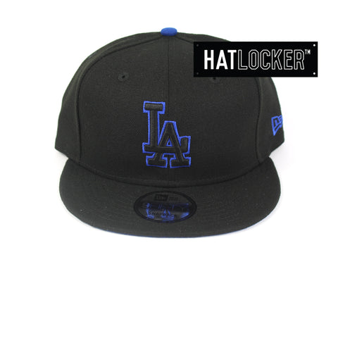 New Era LA Dodgers Black Team Pop Snapback Hat