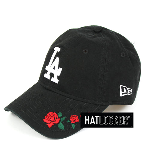 New Era Womens LA Dodgers Rose Embroidered Black Curved Brim