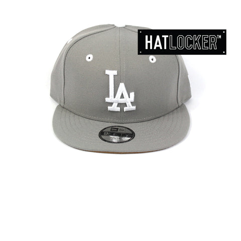 New Era LA Dodgers Grey Wheat Youth Snapback Hat