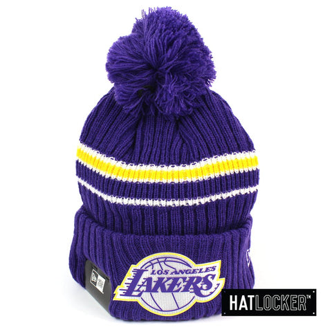 New Era LA Lakers BH Series Team Purple Pom Knit Beanie