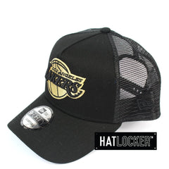 New Era LA Lakers Gold Logo Black Trucker Snapback Cap