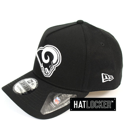 New Era LA Rams Black and White Logo Curved Snapback