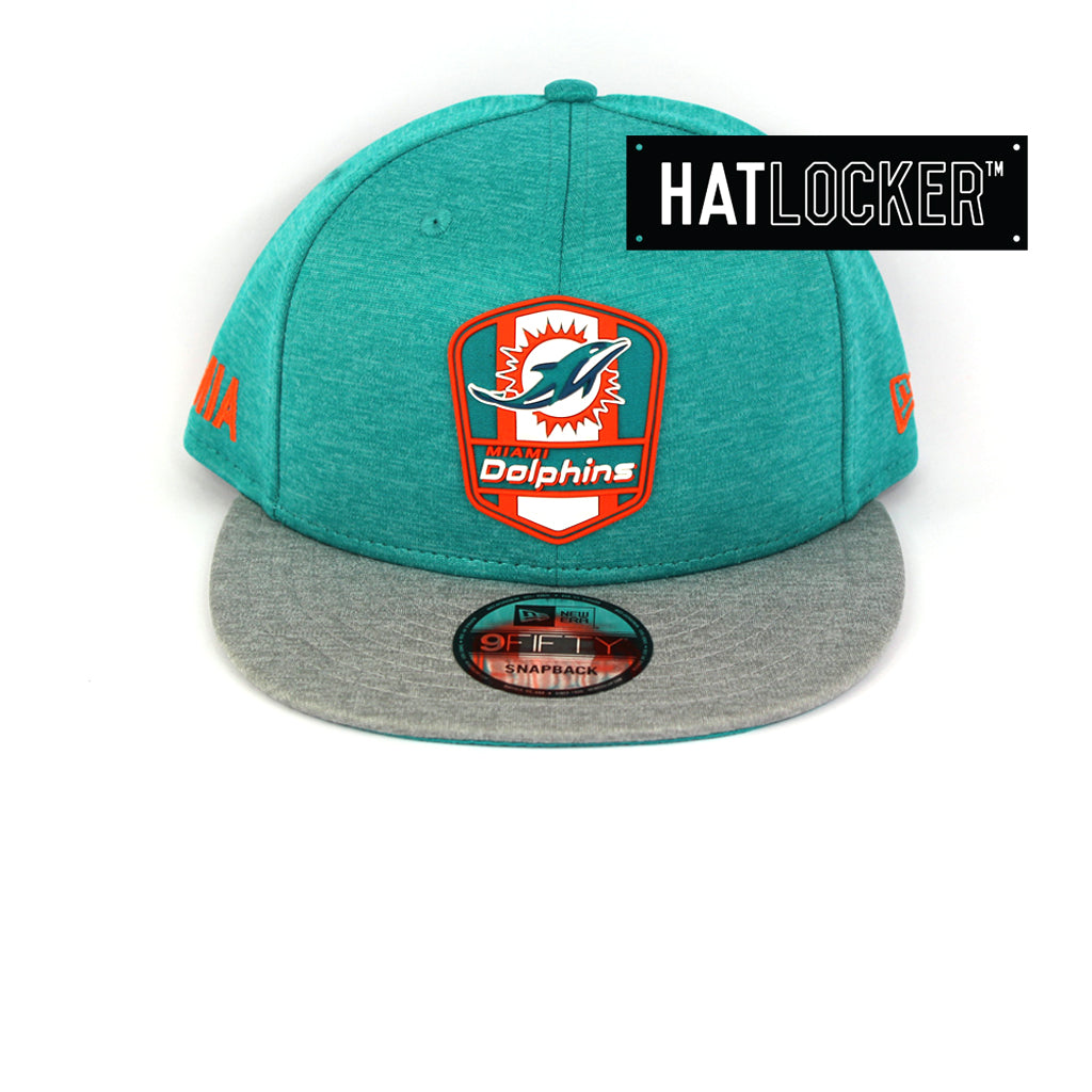 New Era Miami Dolphins 2018 Official Sideline Snapback Cap 3993190464fc