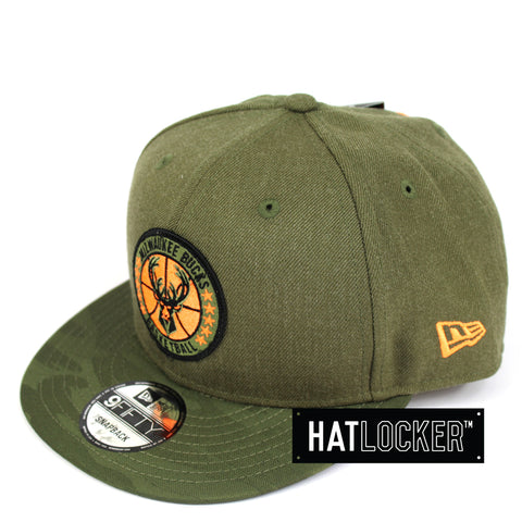 New Era Milwaukee Bucks 2018 NBA Tip Off Army Snapback Hat