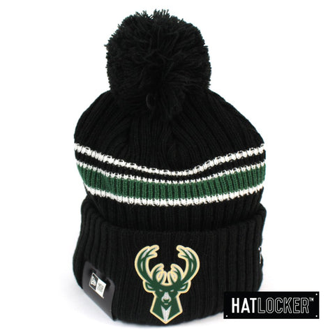 New Era Milwaukee Bucks BH Series Black Pom Knit Beanie