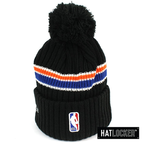 New Era New York Knicks BH Series Black Pom Knit Beanie