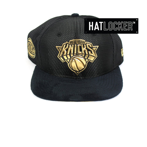 New Era - New York Knicks On-Court Black Gold Snapback