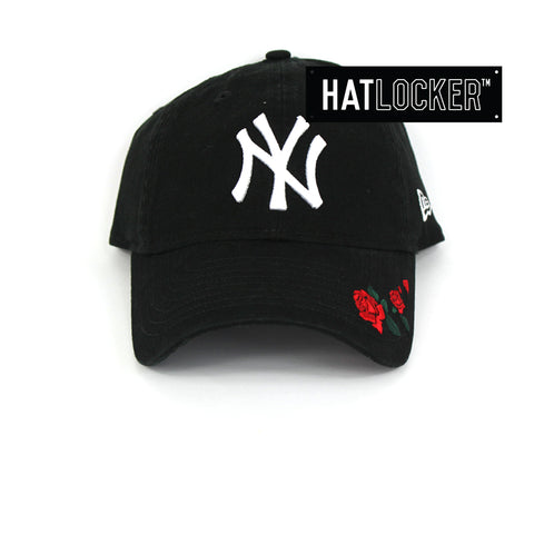 New Era Womens New York Yankees Rose Embroidered Black Curved Brim