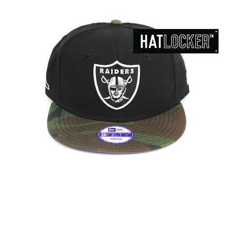 New Era Oakland Raiders Youth Black Camo Snapback Hat