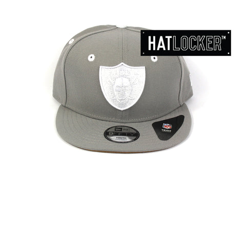 New Era Oakland Raiders Grey Wheat Youth Snapback Hat