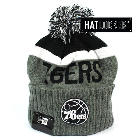 New Era Philadelphia 76ers Black & Grey Pom Knit Beanie