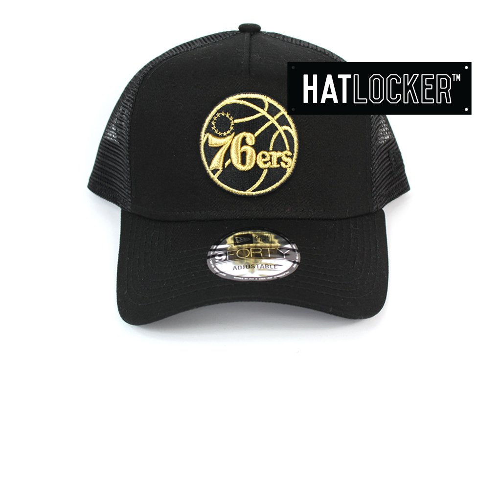 New Era Philadelphia 76ers Gold Logo Black Trucker Snapback Hat