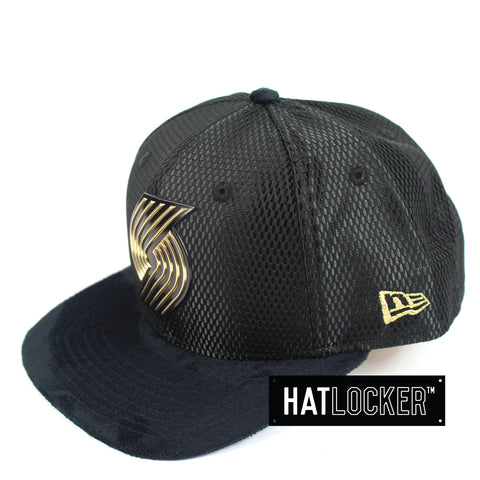 New Era - Portland Trail Blazers On-Court Black Gold Snapback