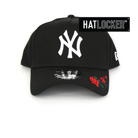New Era New York Yankees Rose Embroidered Black Curved Snapback