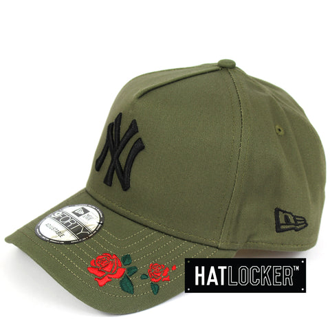 New Era New York Yankees Rose Embroidered Olive Curved Snapback