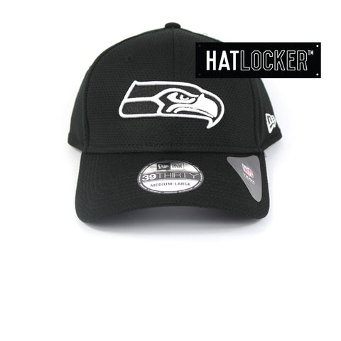New Era Seattle Seahawks Black White Performance Curved Brim Cap
