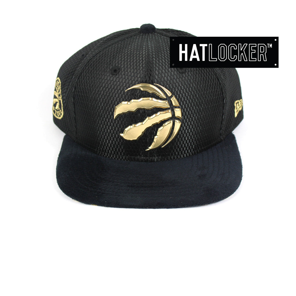 half off 0ff73 75d29 New Era   Official NBA Toronto Raptors Black Gold On-Court Hat – Hat Locker