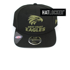 New Era AFL West Coast Eagles 2020 Olive Black Precurved Snapback
