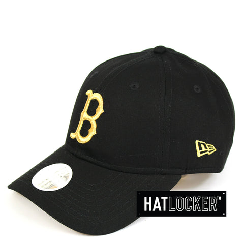 New Era Womens Boston Red Sox Black Gold Curved Brim Hat