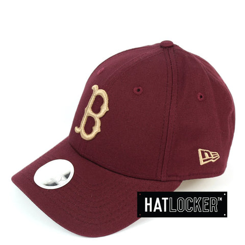 New Era Womens Boston Red Sox Maroon Camel Curved Strapback