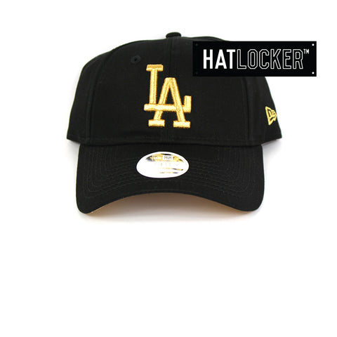 New Era Womens LA Dodgers Black Gold Curved Brim Cap