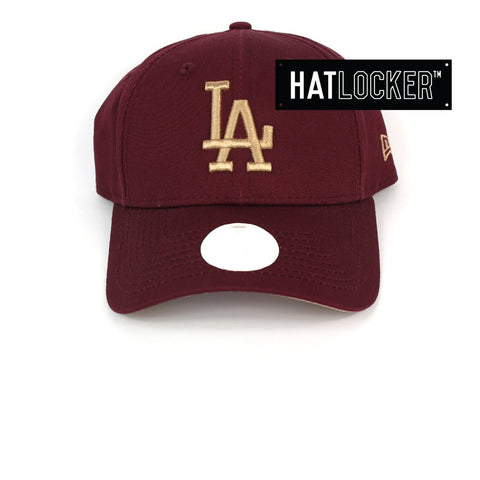 New Era Womens LA Dodgers Maroon Camel Curved Strapback