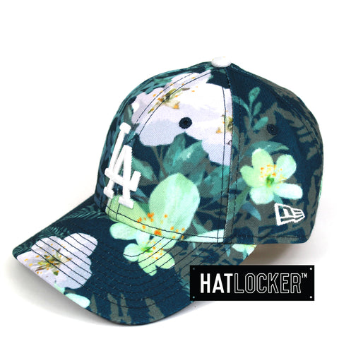New Era Womens LA Dodgers Teal Floral Curved Brim Cap