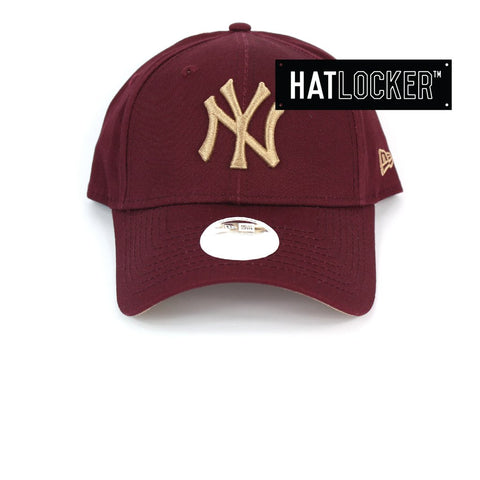 New Era Womens New York Yankees Maroon Camel Curved Strapback