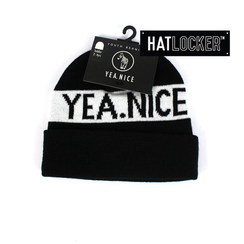 Yea.Nice Pom Caviar Black Toddler Beanie