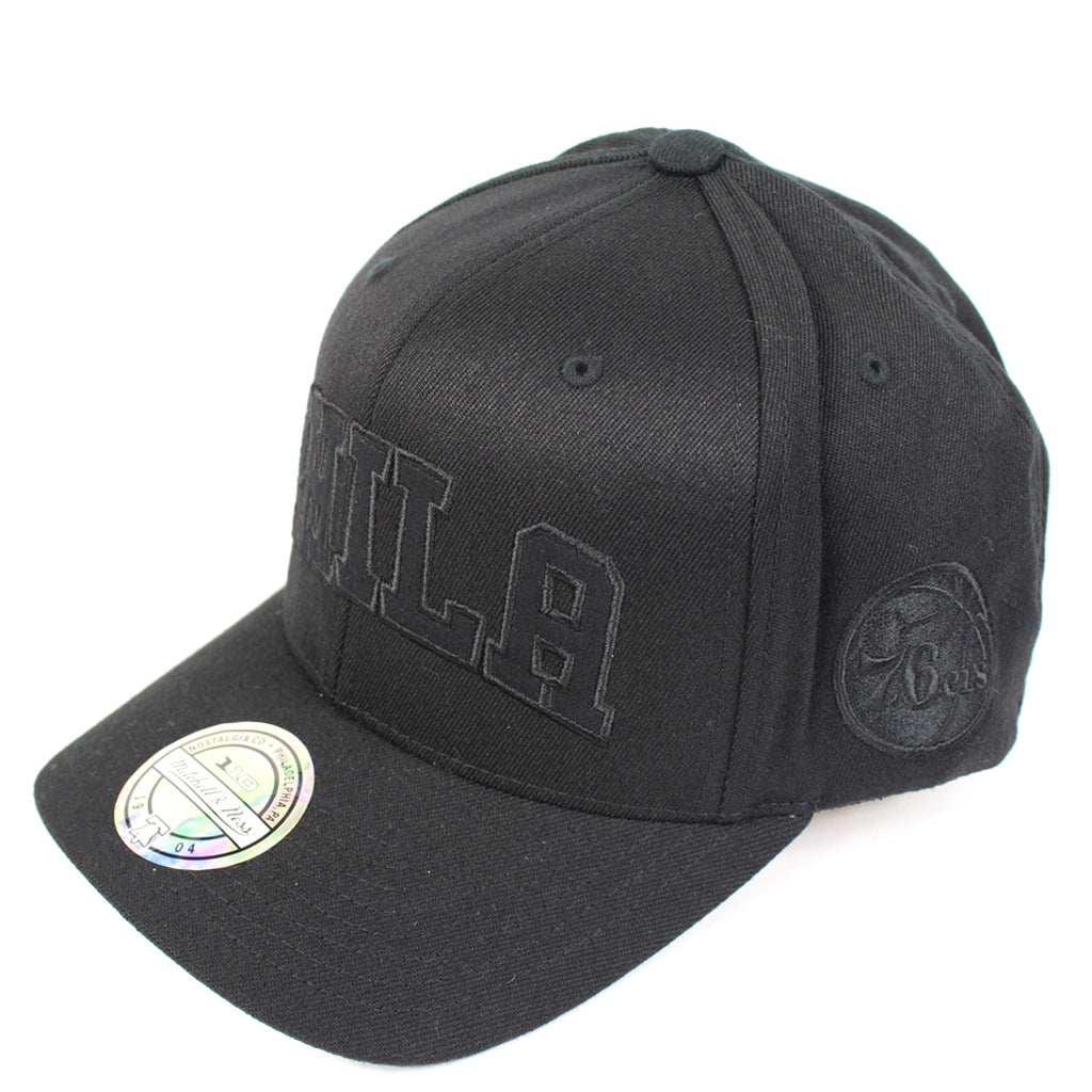 Mitchell and Ness Philadelphia 76ers Black Tonal Jersey Snapback