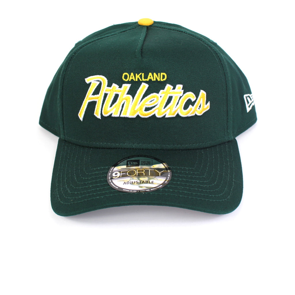 Oakland Athletics Hat Dark Green Retro Script Snapback New Era