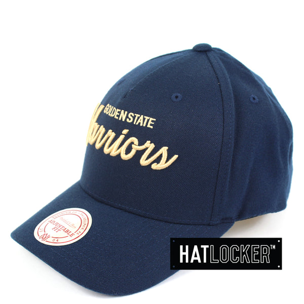 Mitchell And Ness Golden State Warriors Classic Script Curved Snapback Hat