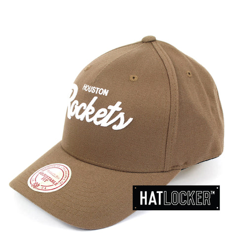 Mitchell And Ness Houston Rockets Classic Script Curved Snapback Hat